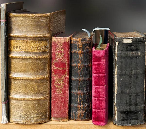 Libres antiguos en una estanteria